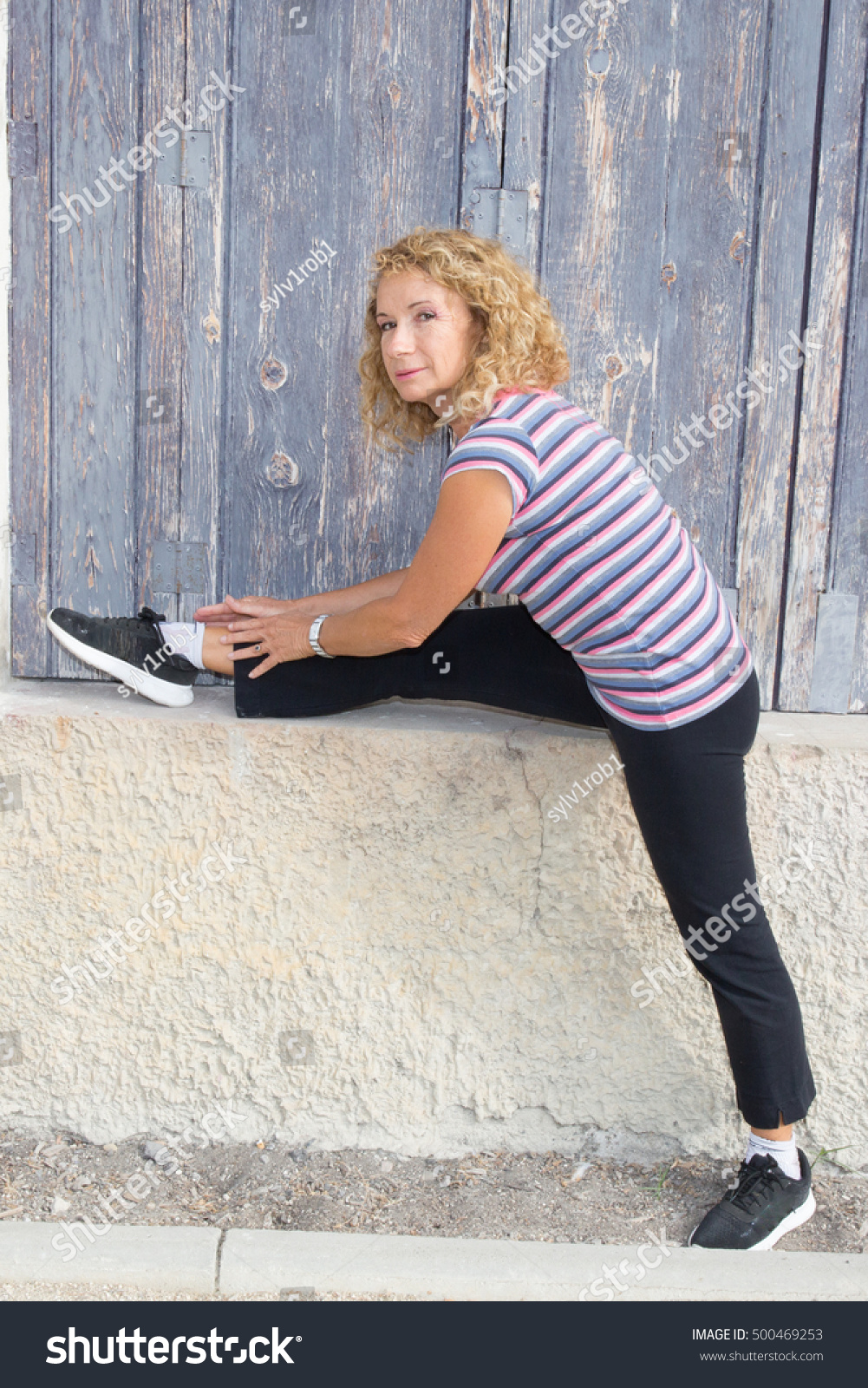 sports mature blonde girl outdoor stock photo & image (royalty-free