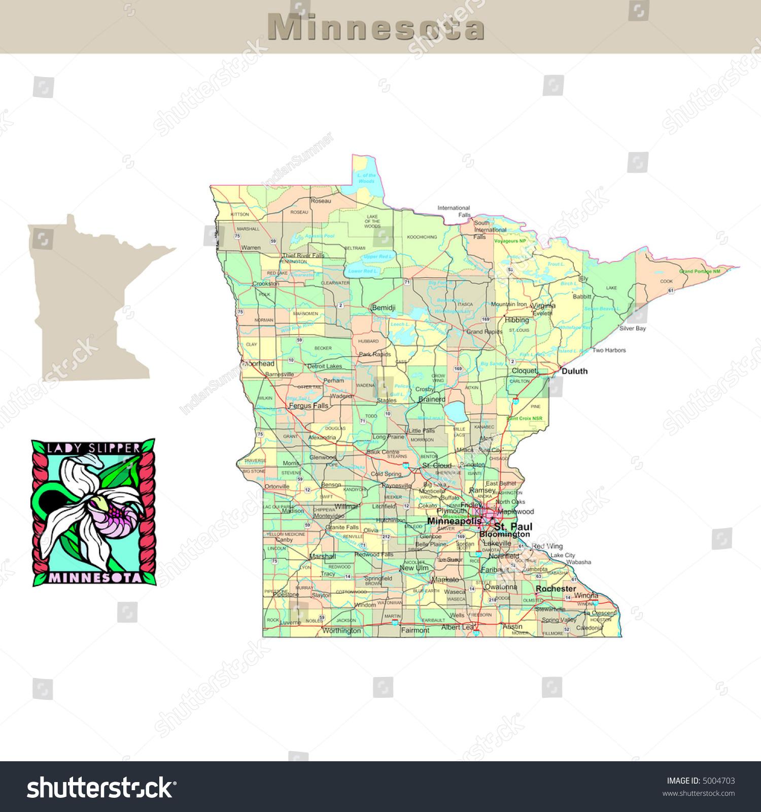 Image of: Usa States Series Minnesota Political Map Stock Illustration 5004703