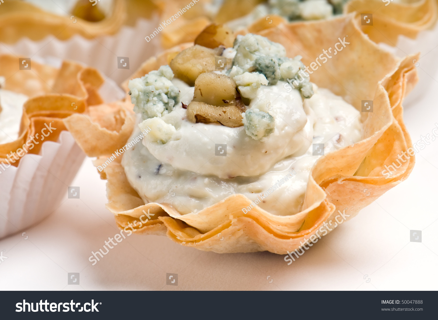 Group blue cheese walnut volauvent volauvent stock photo for Puff pastry canape