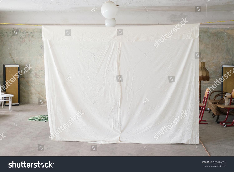 Bed sheet hanging - Bed Sheet Hanging Homemade Projector Screen Old House Rural Village Vintage Interior