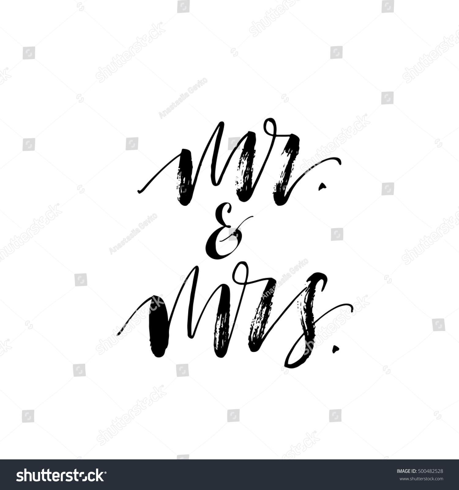 Mr mrs phrase hand drawn wedding stock vector