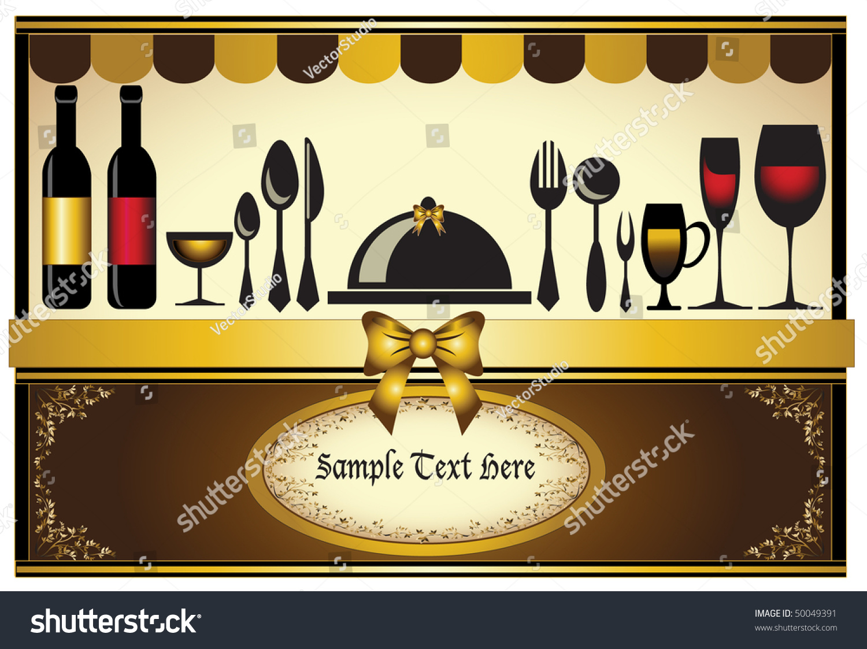 Restaurant menu invitation card classic background stock