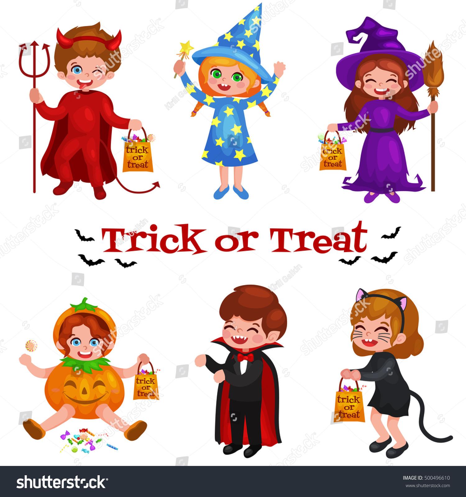 happy halloween set of cute cartoon children in colorful halloween costumes dracula girl - Happy Halloween Cartoon Pics