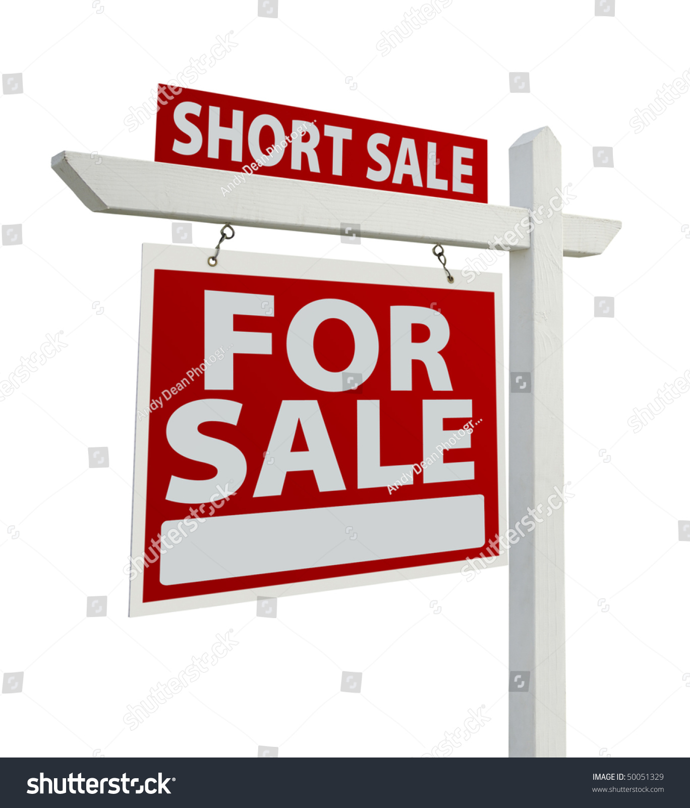 Short Sale Home For Sale Real Estate Sign Isolated On A