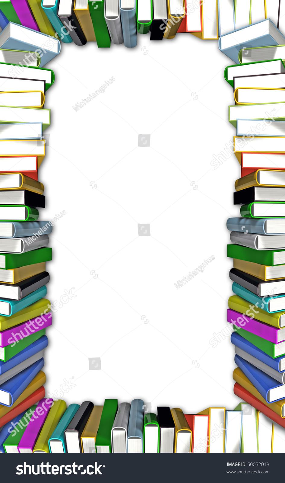 border colorful books isolated on white stock illustration