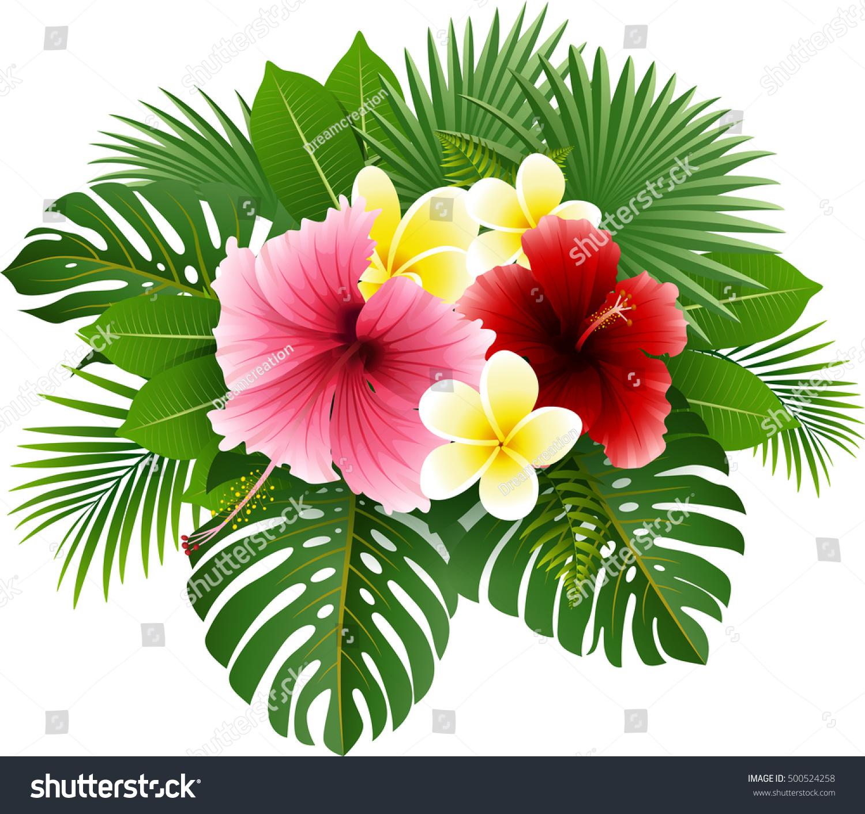 Beautiful tropical flowers leaves stock vector royalty free beautiful tropical flowers and leaves izmirmasajfo