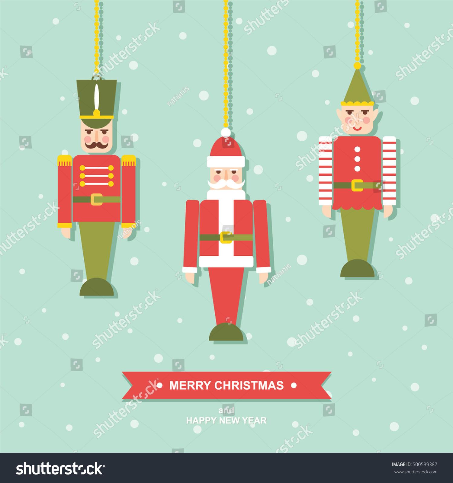 Christmas Toys Cards : Vintage toys christmas ornaments flat vector stock