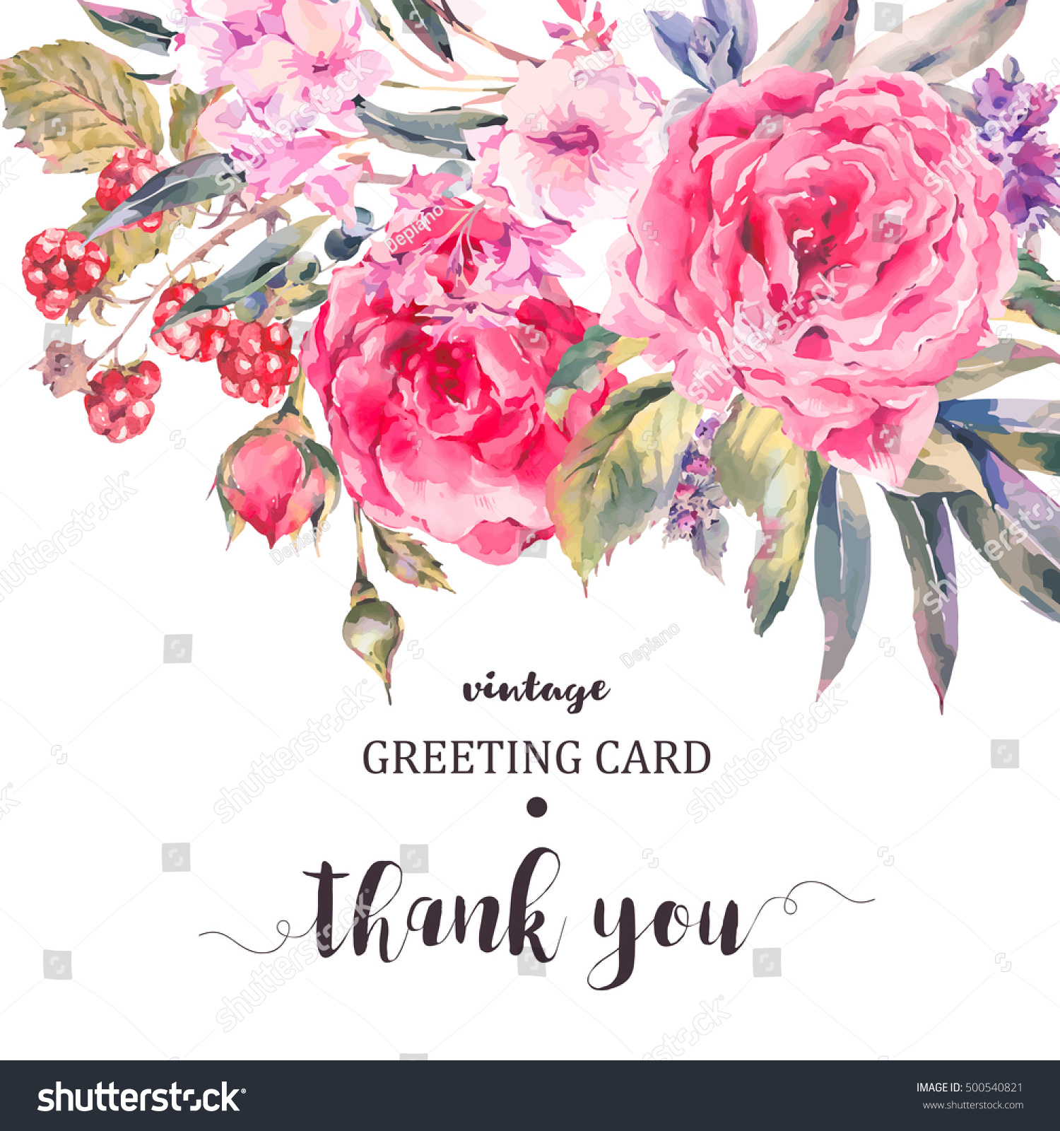Classical Vintage Floral Thank You Card Stock Vector Royalty Free