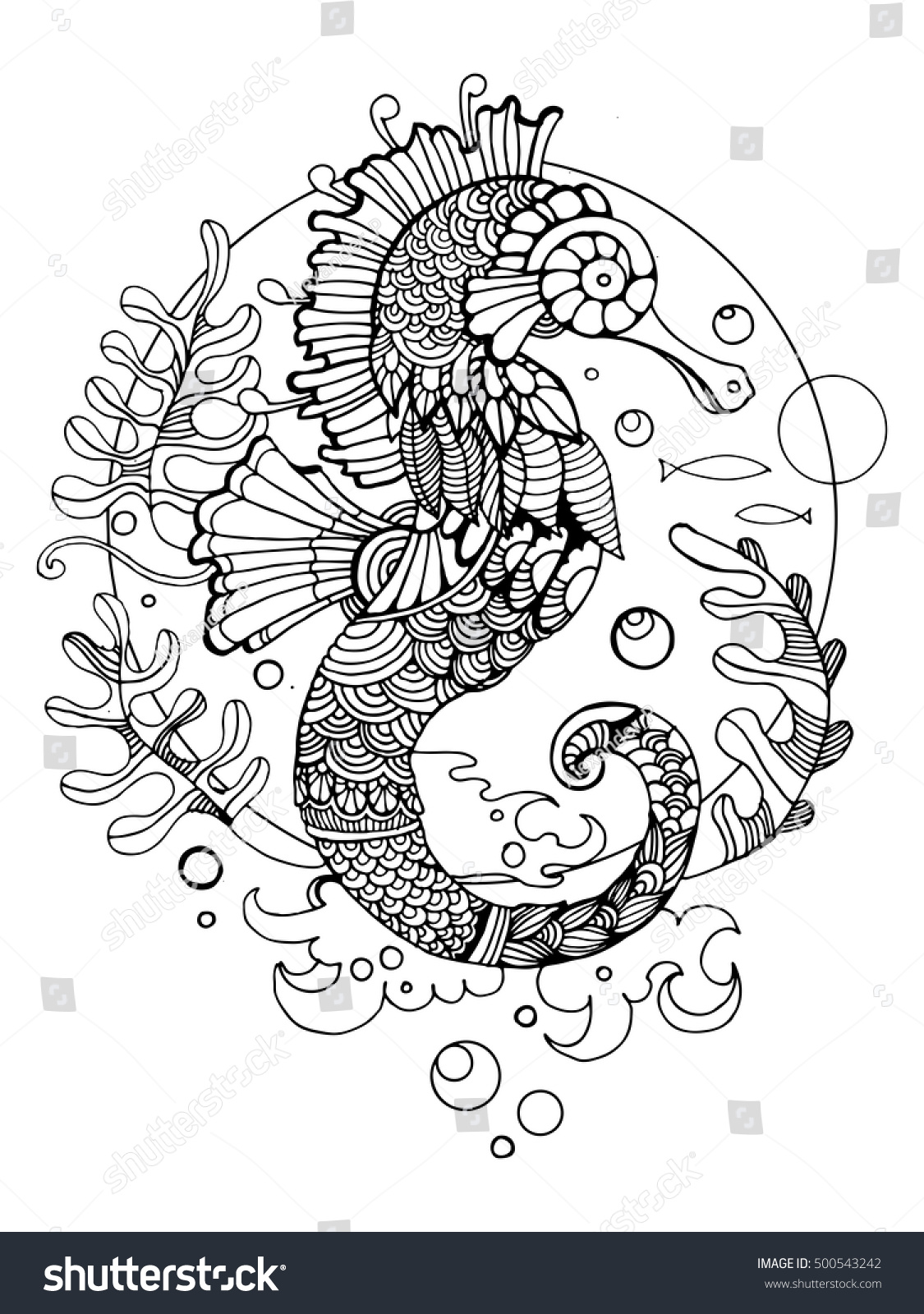 Sea Horse Coloring Book Adults Vector Stock Vector Royalty Free