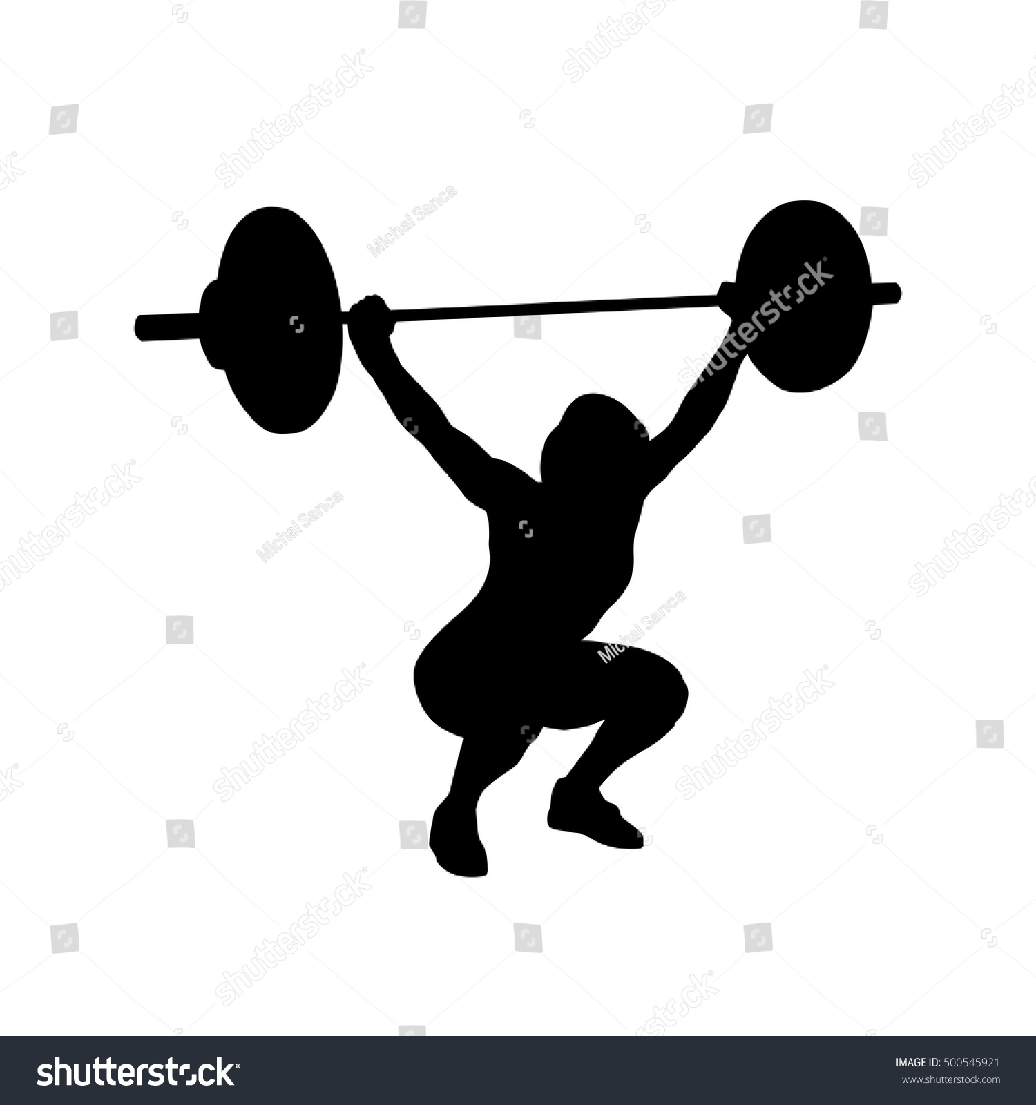 Woman Practicing Barbell Weightlifting Bodybuilding Vector ...