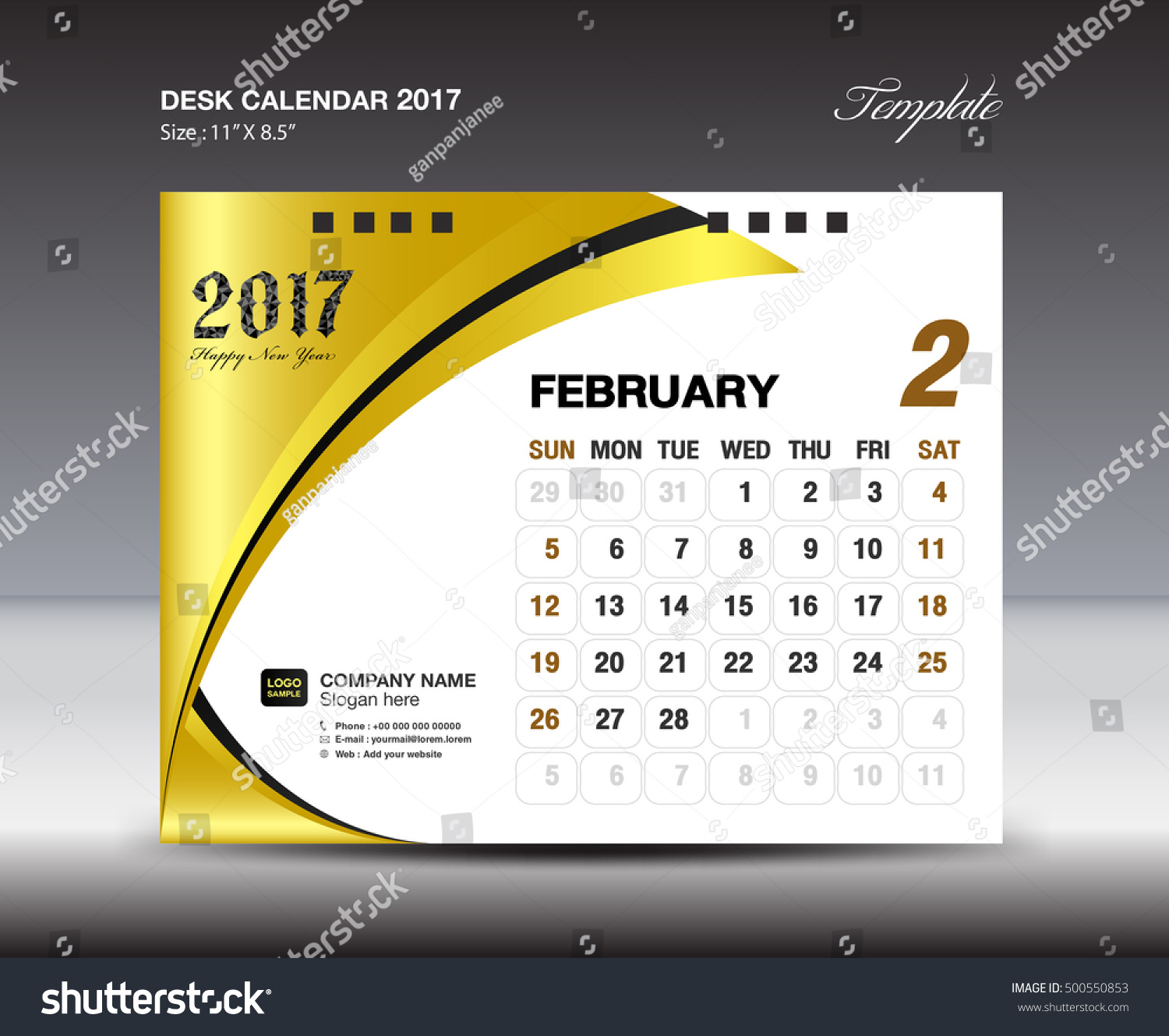FEBRUARY Desk Calendar 2017 Design Template Stock Photo (Photo ...