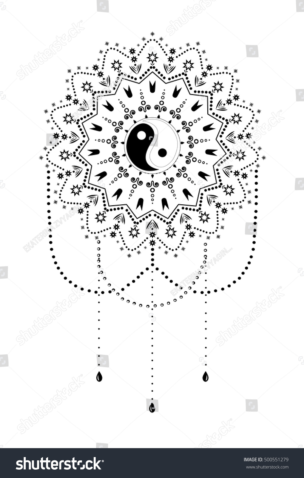 Ornament Card Mandala Yin Yang Spirituality Stock Vector Royalty