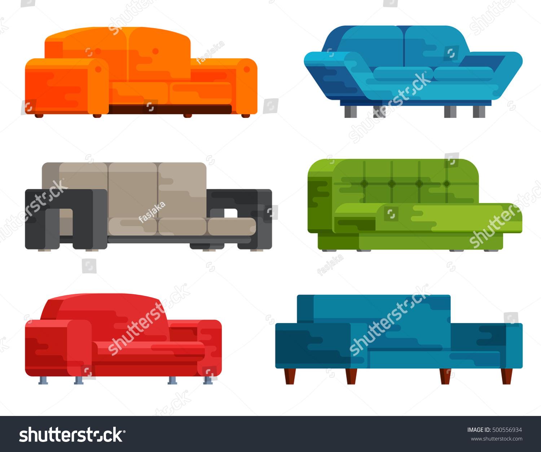 Cool Illustration Sofa Set Flat Style Furniture Stock Vector Beatyapartments Chair Design Images Beatyapartmentscom