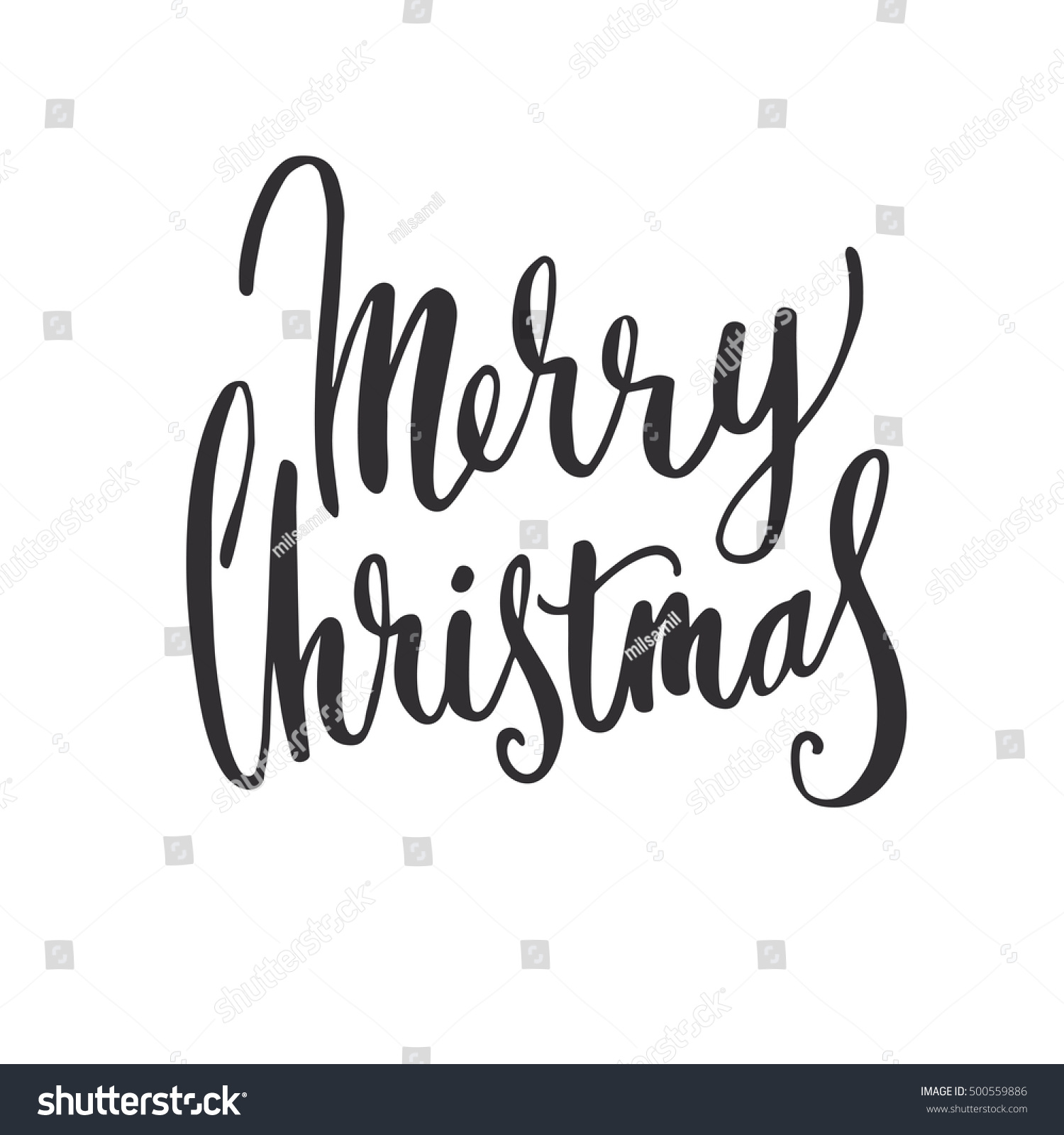 Merry christmas hand drawing lettering modern brush
