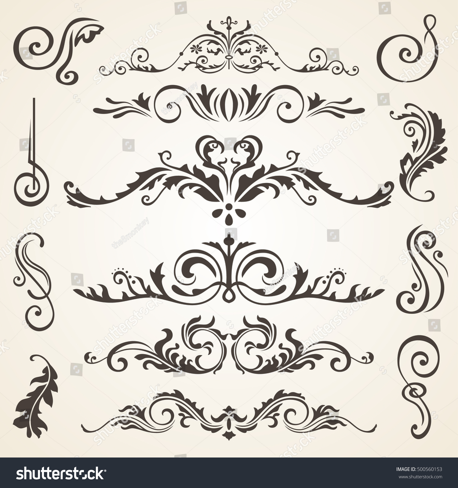Calligraphic design elements and page decoration. Vector set to embellish  your layout. Victorian design