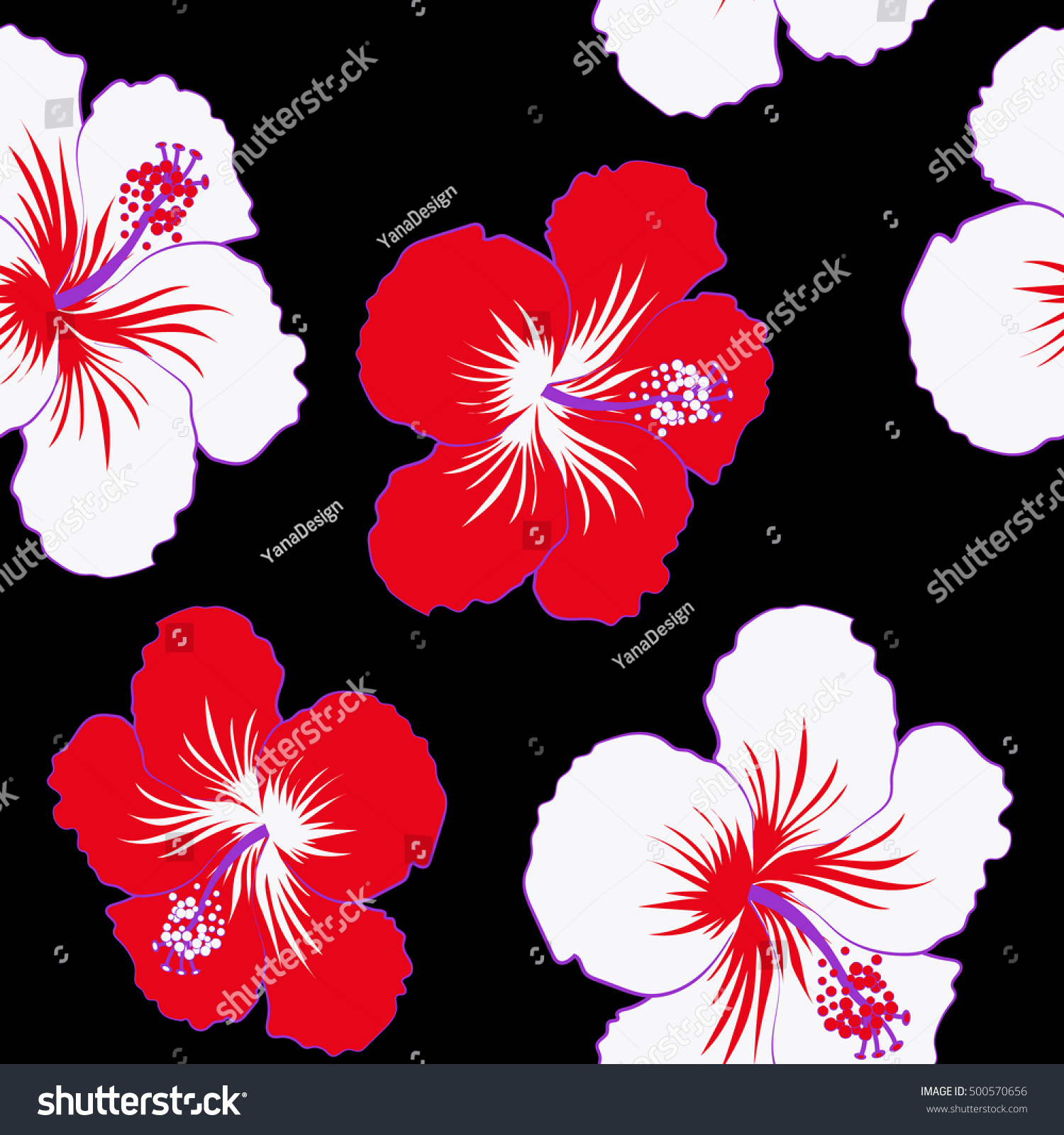 Red white hibiscus flower on black stock vector royalty free red and white hibiscus flower on a black background in a trendy vector style hawaiian izmirmasajfo