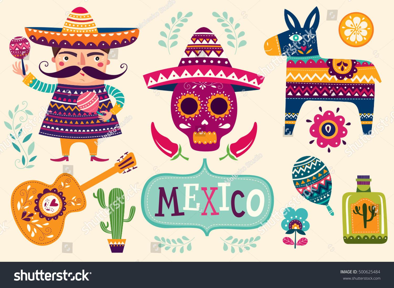 Mexican Symbols Stock Vector 500625484 - Shutterstock