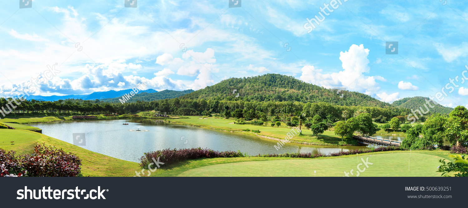 Beautiful Green Golf Course Landscape Panorama Stock Photo ...