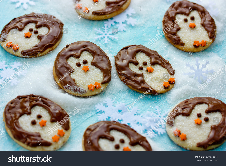 Funny Christmas Penguin Cookies Creative Idea Stock Photo Edit Now