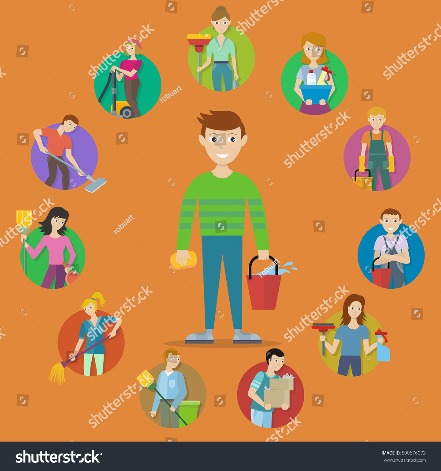 royalty cleaning service concept vector flat  collection of people characters tools for cleaning in house illustration for housekeeping companies and services advertising stock vector