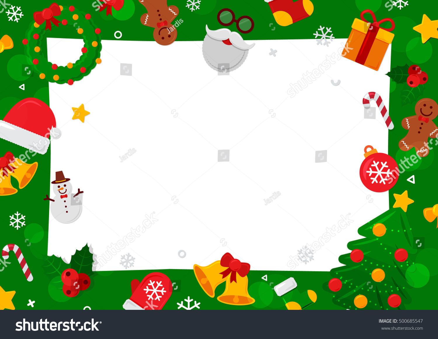 Merry Christmas Background. Flat Christmas Icons With Square Frame. Happy  New Year Concept.