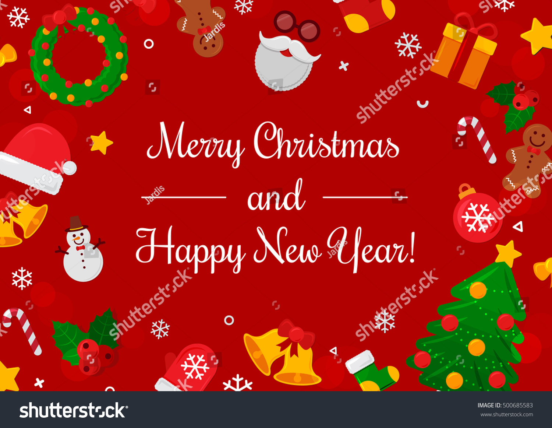 Merry Christmas Background Vector Illustration Flat Stock Vector 500685583 - Shutterstock