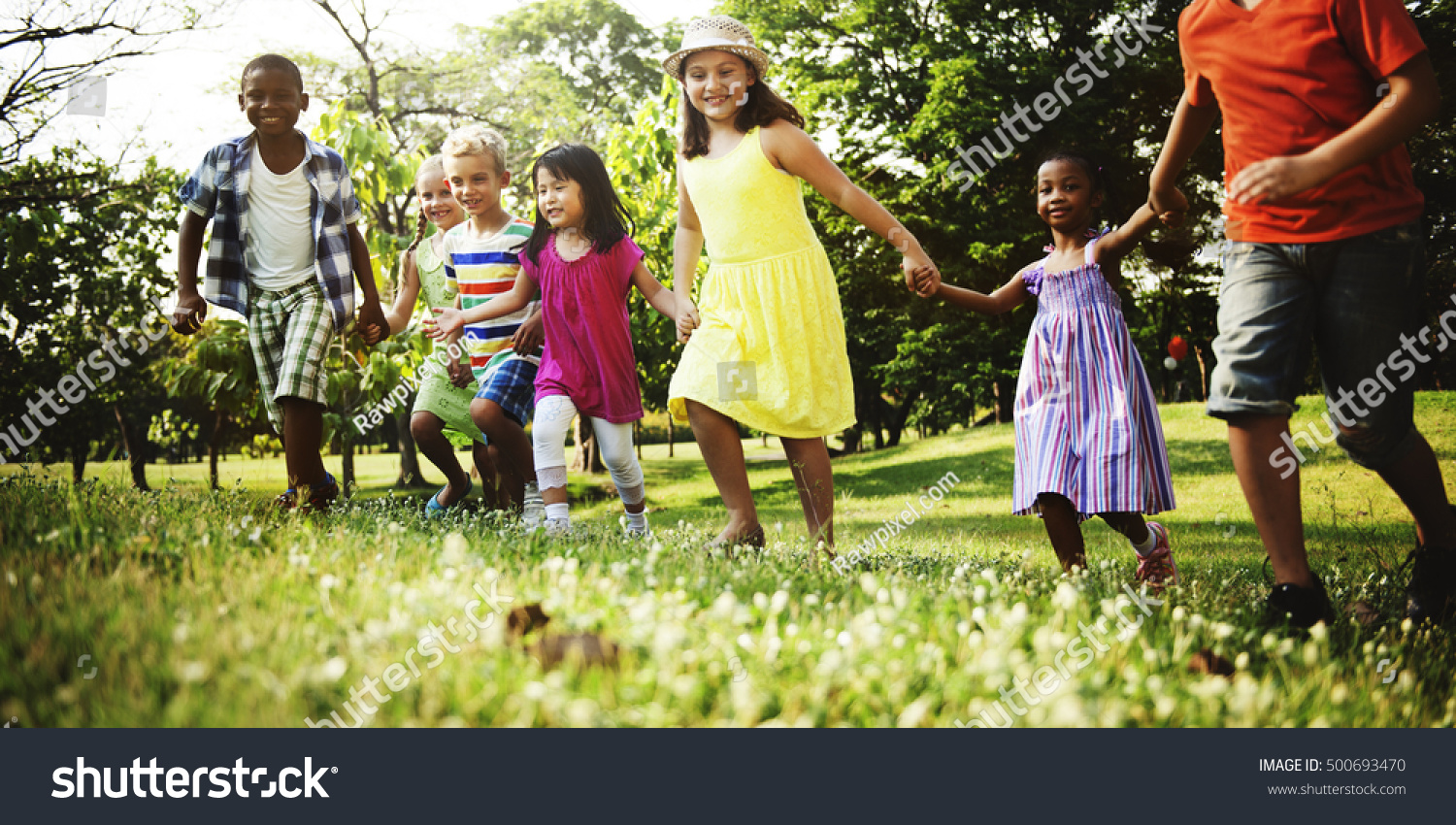 Child friends boys girls playful nature stock photo for Cheerful nature