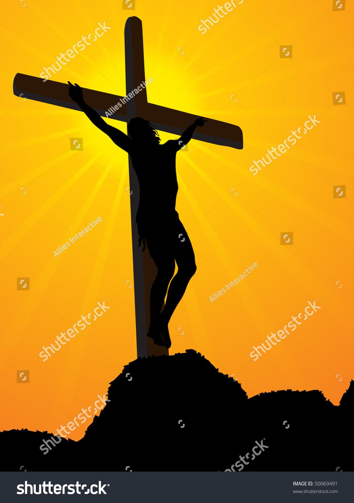 abstract yellow rays background jesus cross stock vector 50069491