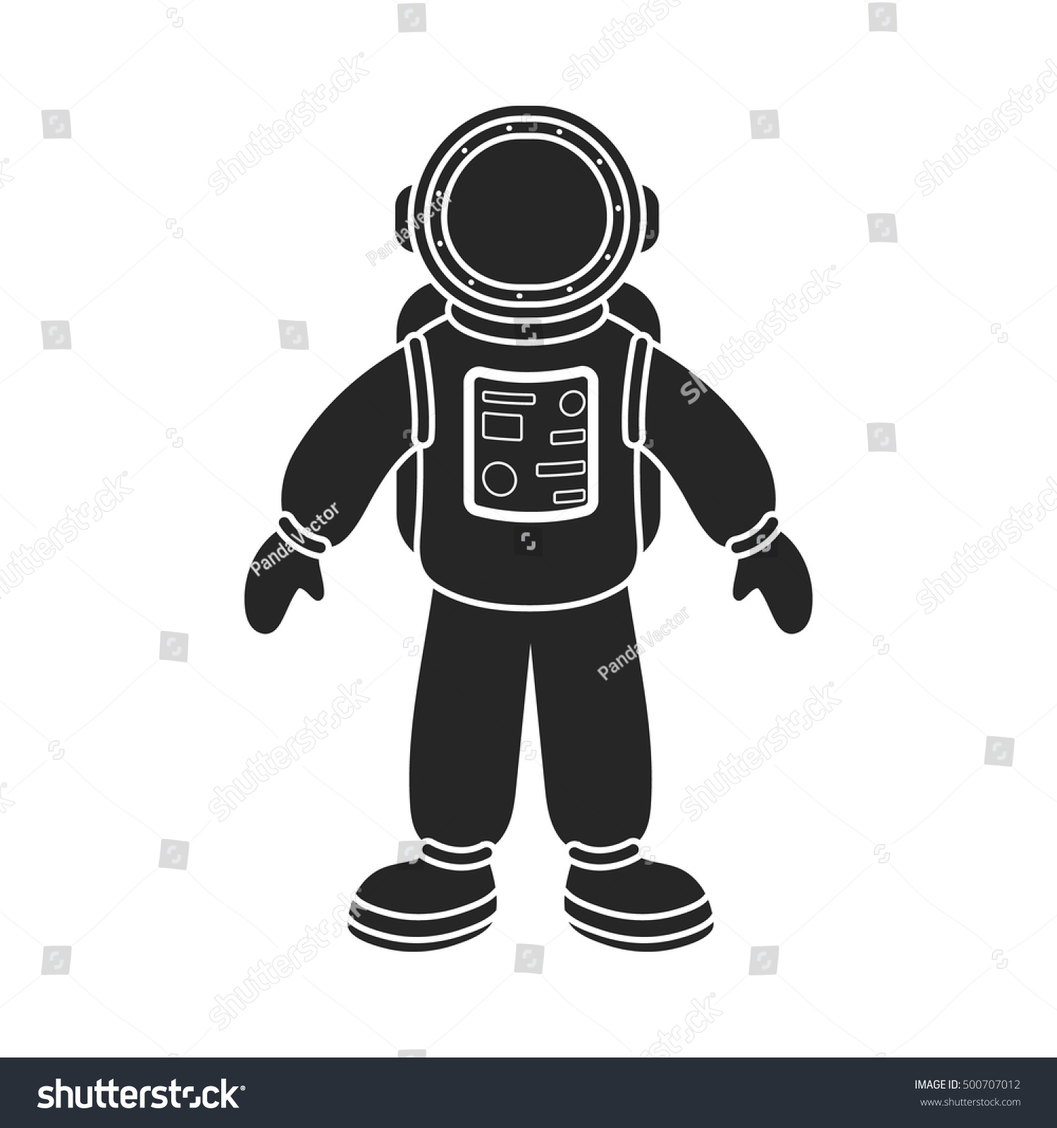 Astronaut Icon Black Style Isolated On Stock Vector ...
