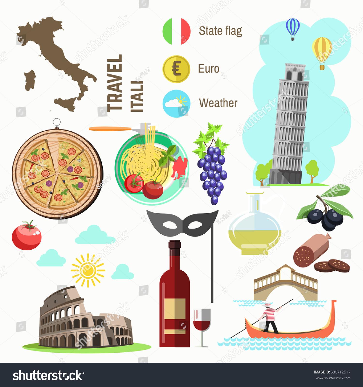 Set Rome Italy Symbols Italian Vector Stock Vector Royalty Free