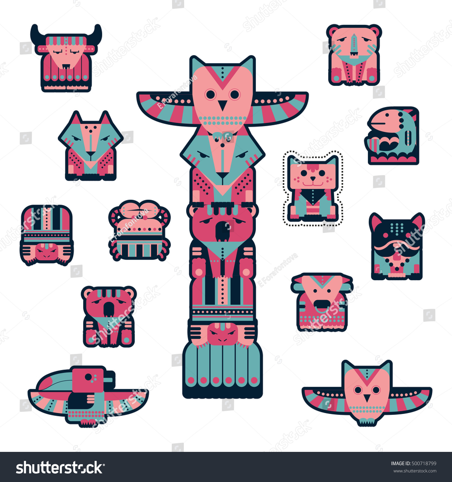 set fashion patch badges cute totems stock vector 500718799