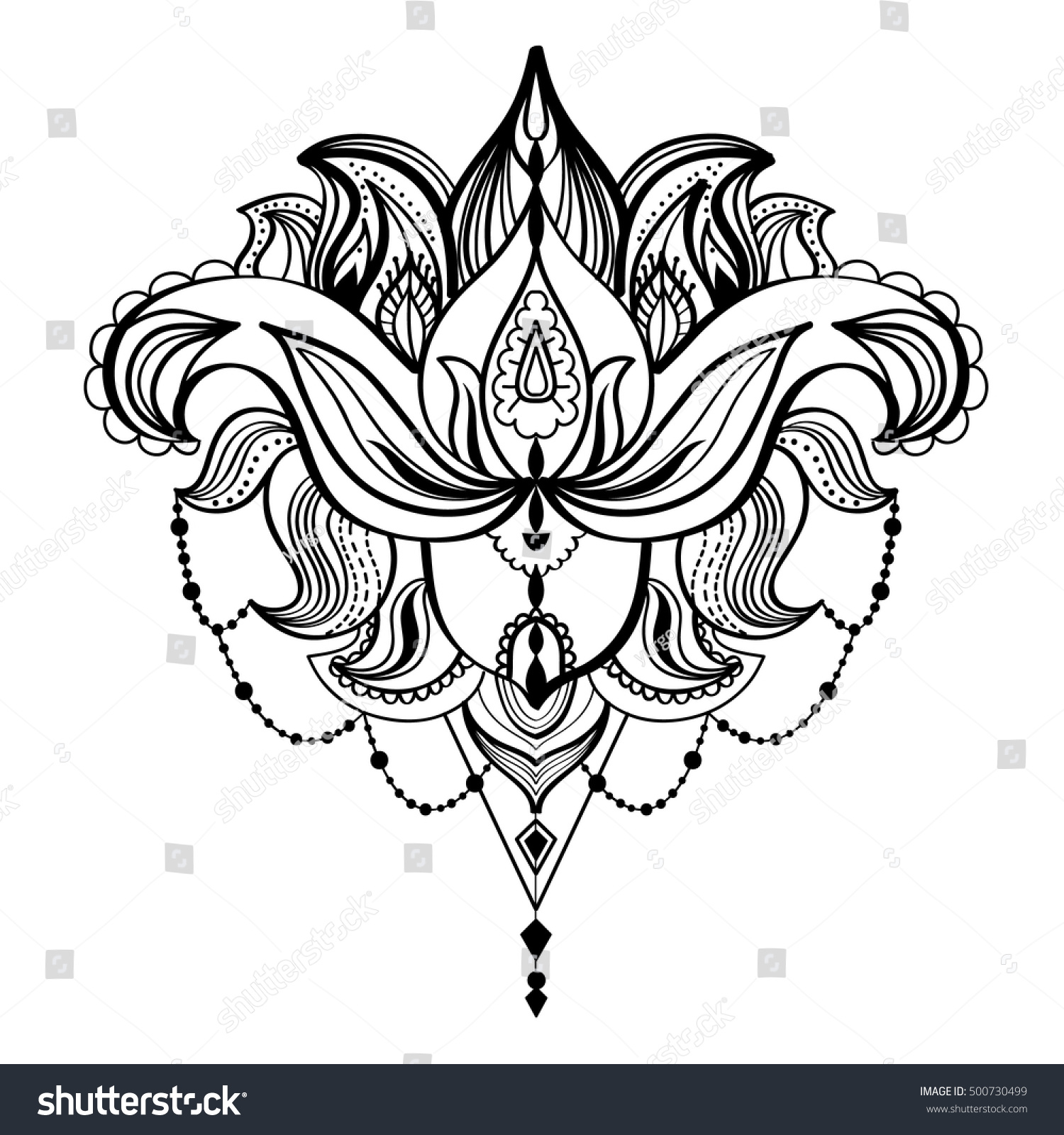 Black white sketch drawing lotus flower stock vector royalty free black and white sketch drawing of a lotus flower adult coloring book vintage bohemian izmirmasajfo