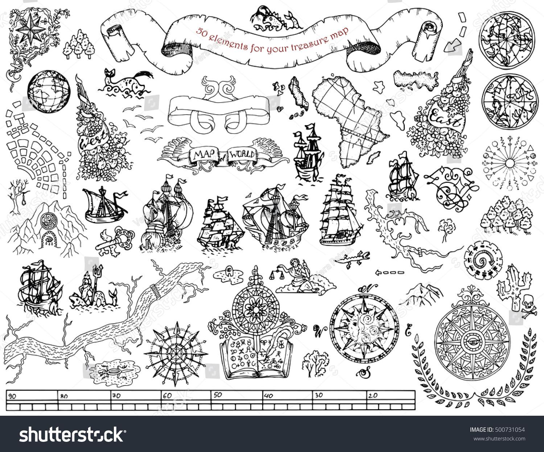 Graphic Set Hand Drawn Elements Pirate