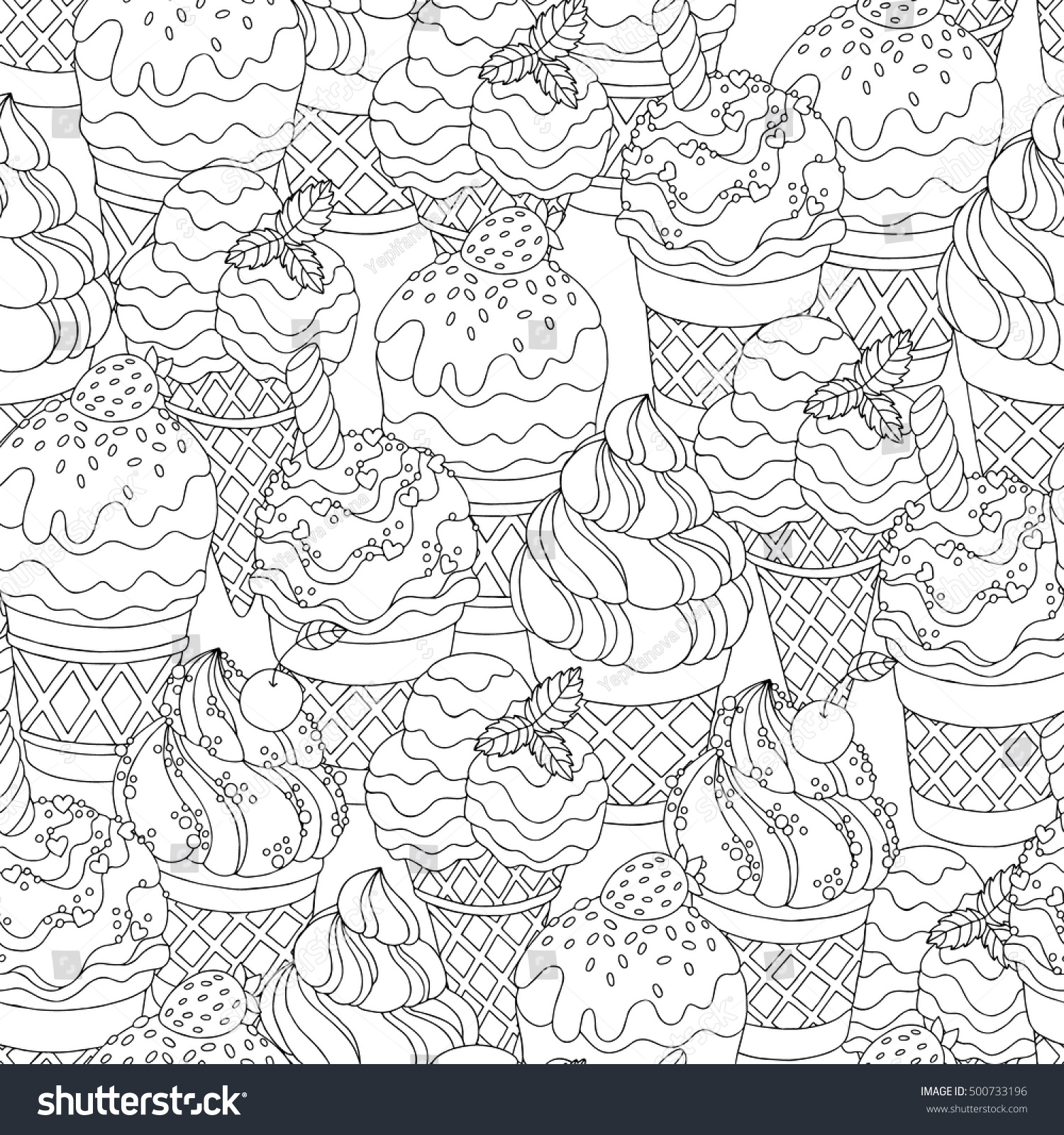 Elegant Vector Hand Drawn Cartoon Ice Cream Stock With Coloring Book Wallpaper