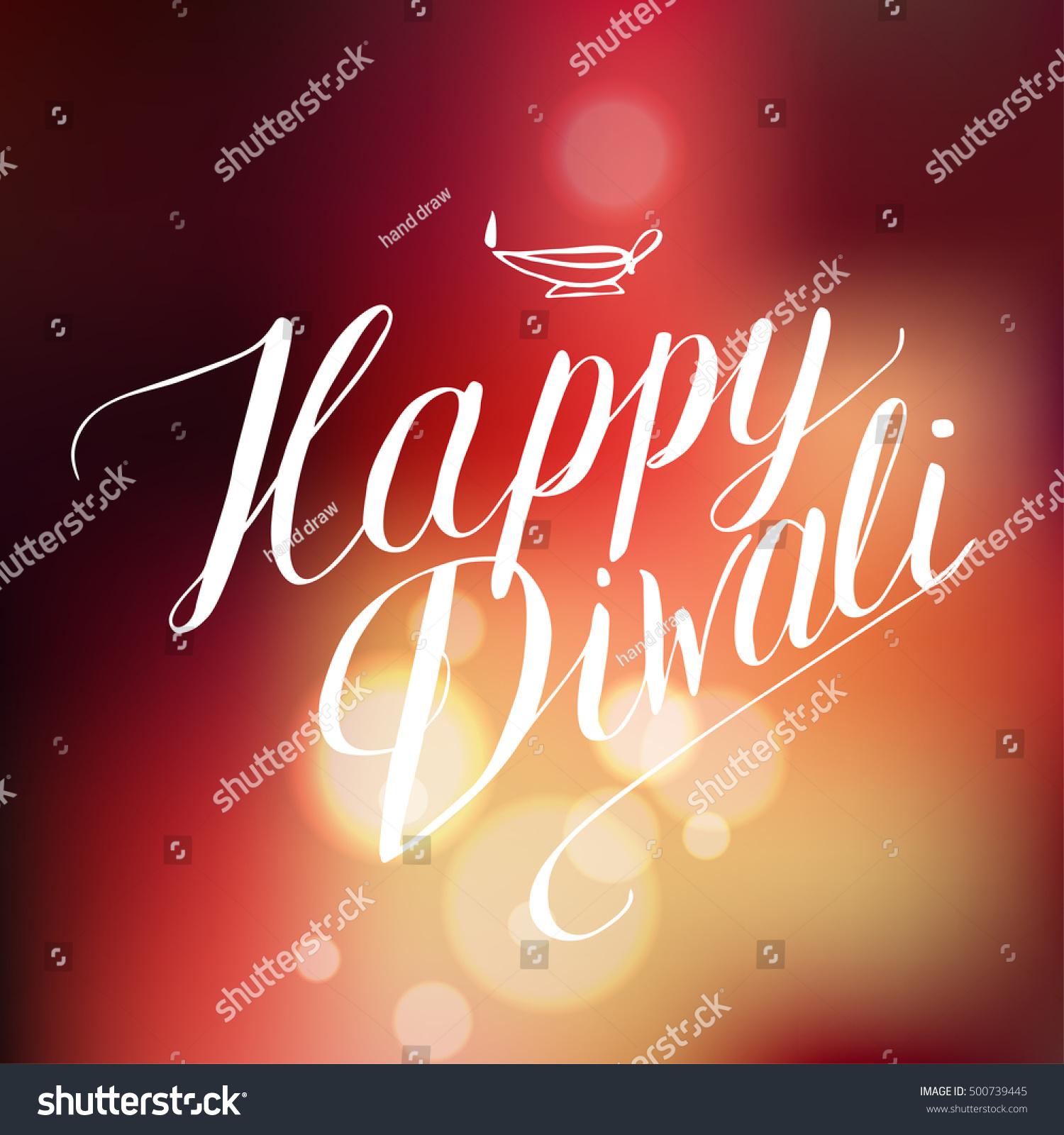 Happy diwali lights handwriting calligraphy on bokeh