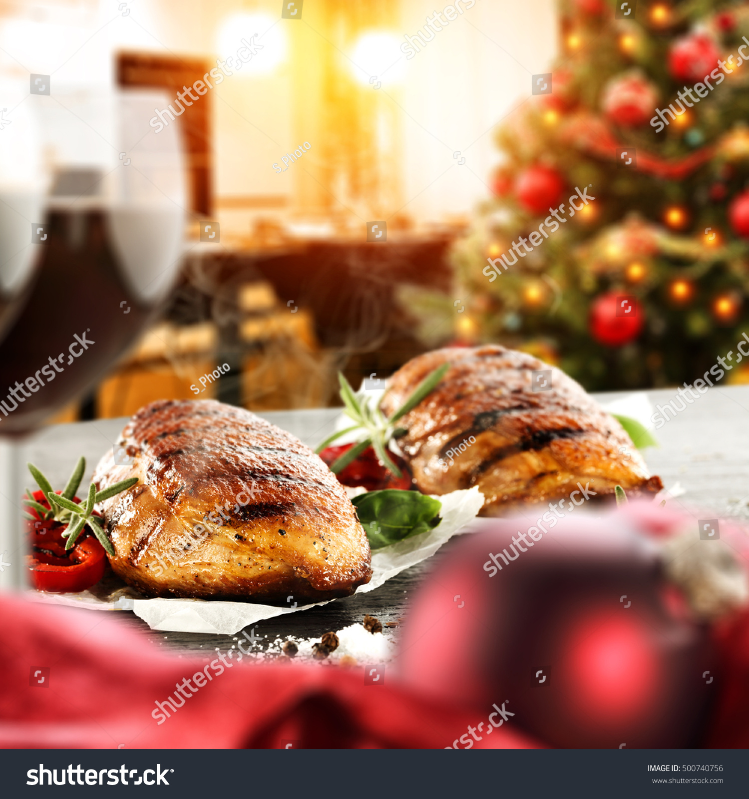 Kitchen Table With Food: Christmas Food On Table Kitchen Interior Stock Photo 500740756