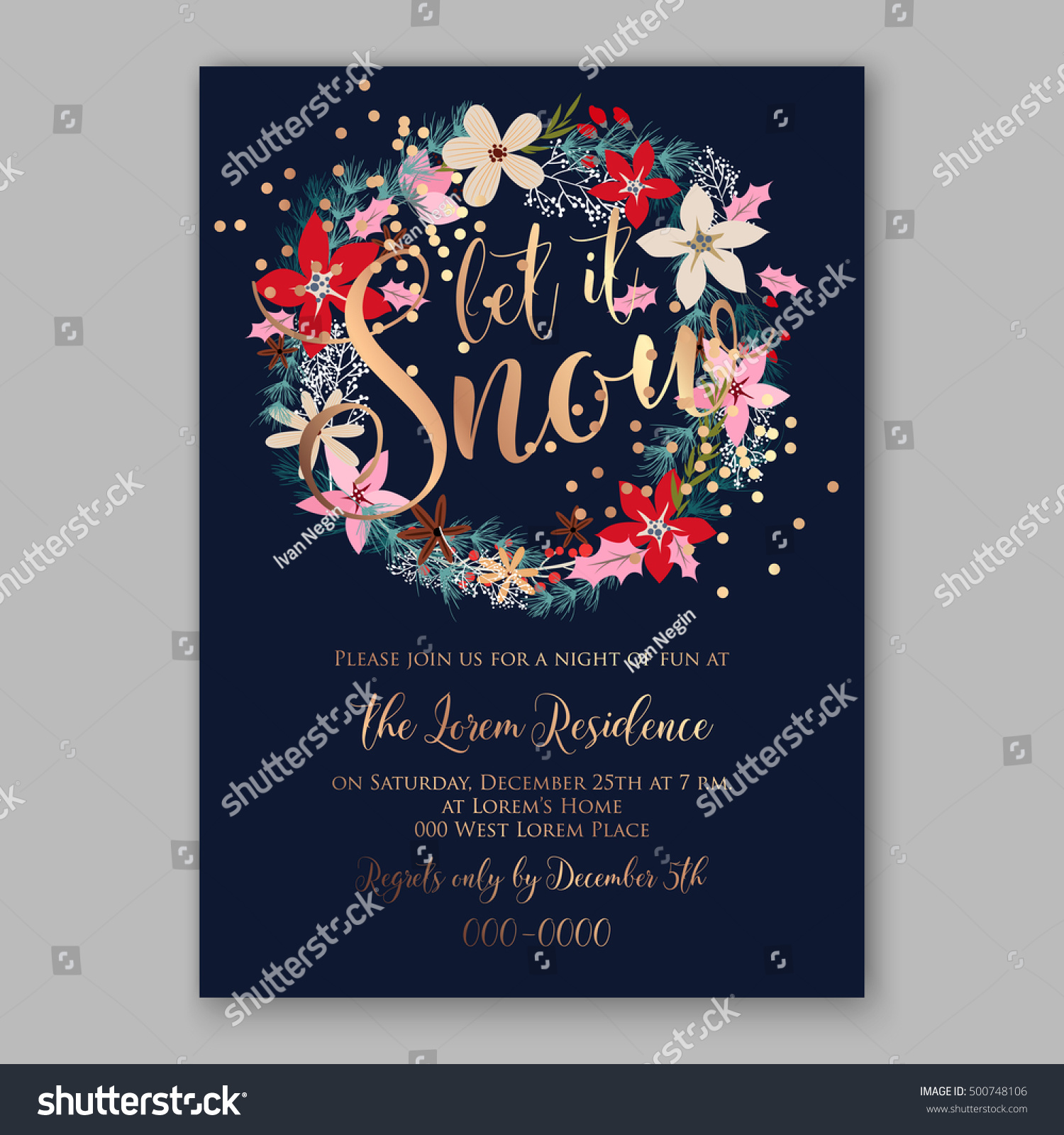 christmas party invitation poster template r tic stock vector christmas party invitation poster template r tic winter wreath of red poinsettia flowers pine and