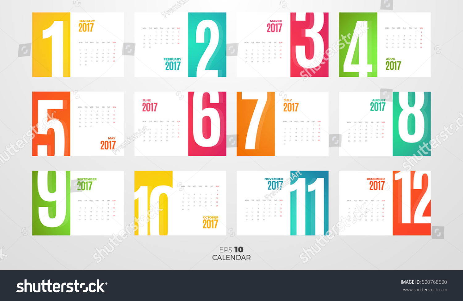 Wall Table Office Monthly Calendar Year Stock Vector 500768500 ...