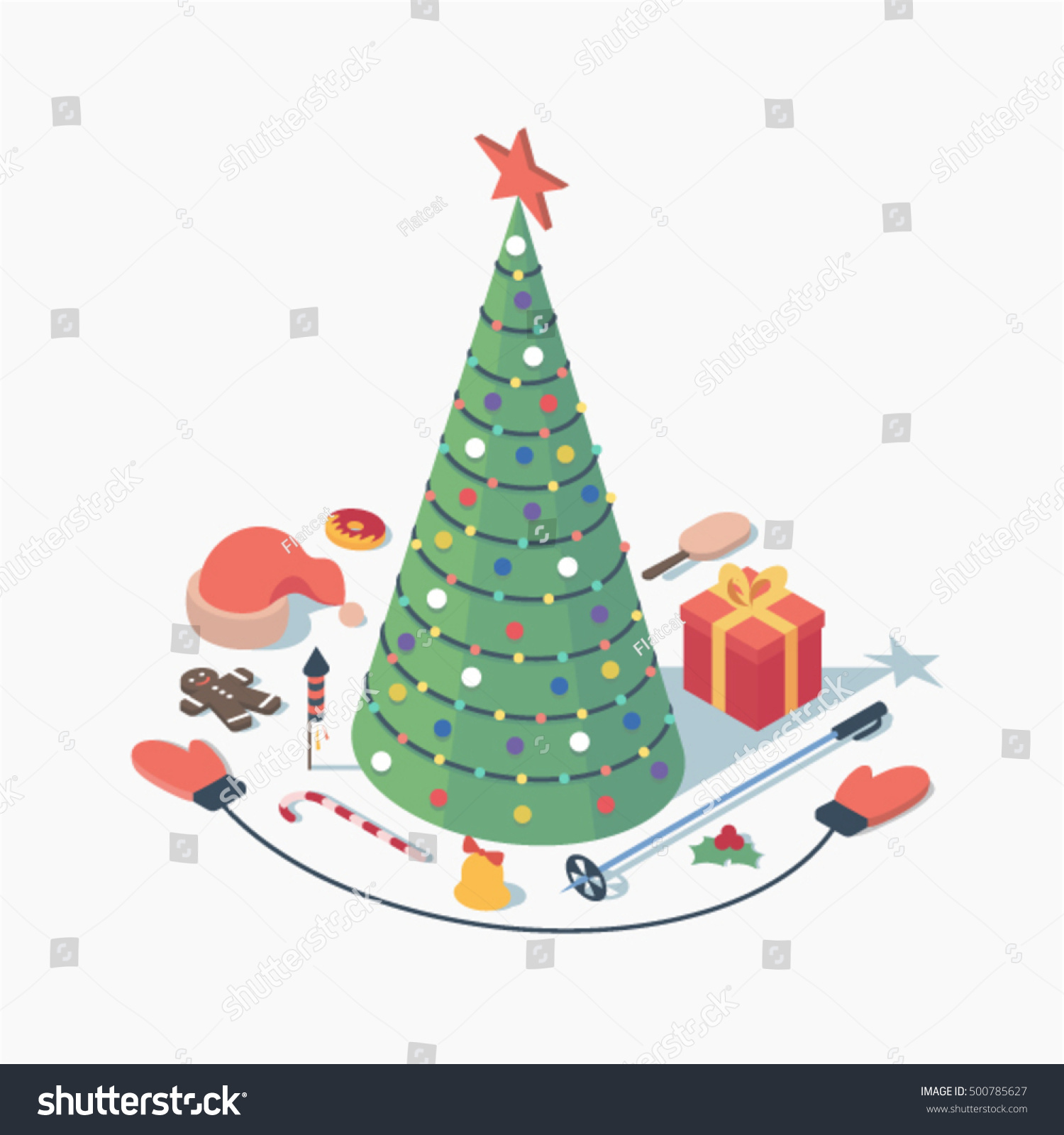 Christmas Vector Isometric Concept Illustration 3 D Stock Vector ...