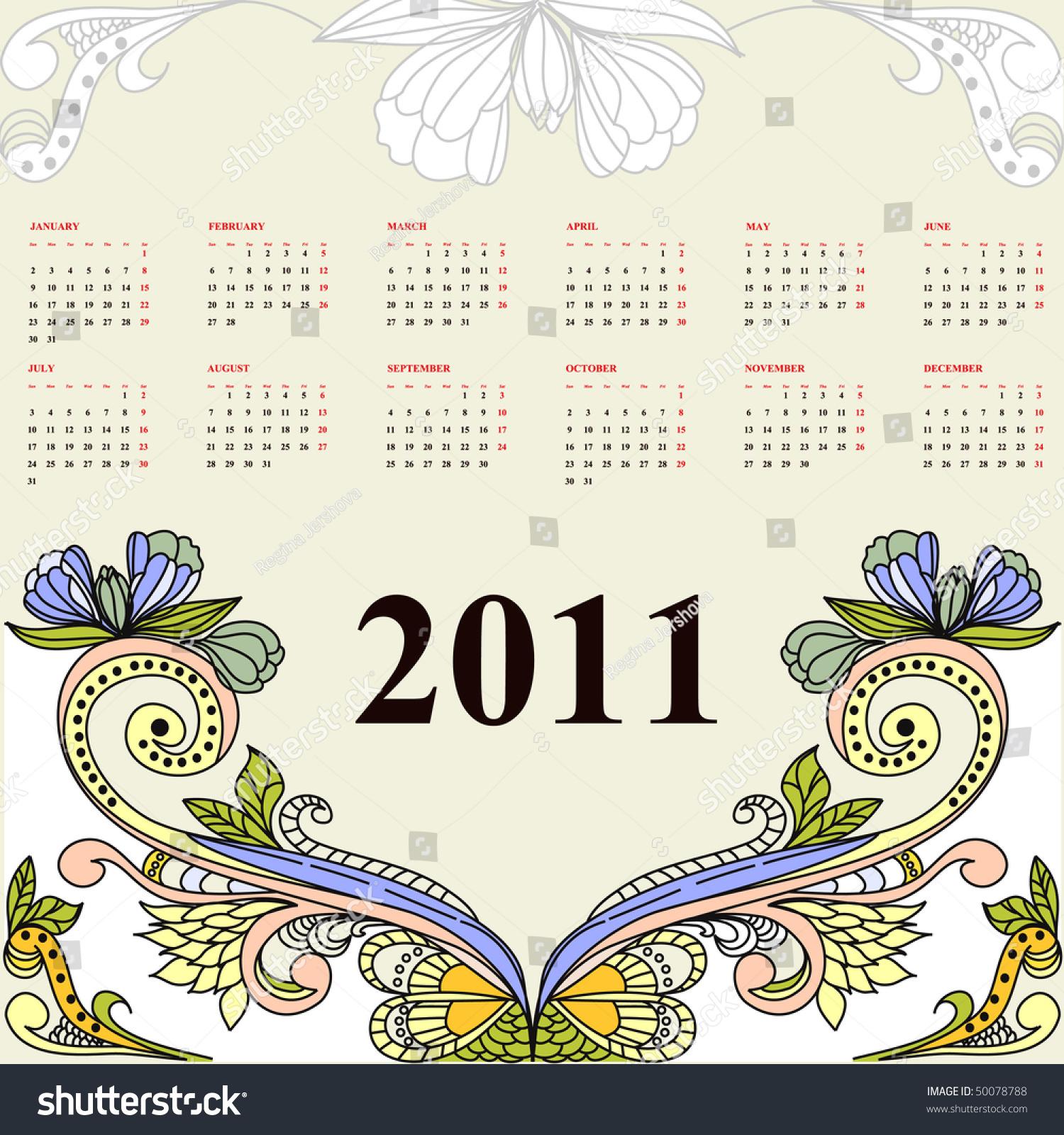 Calendar Vintage Vector : Vintage calendar for stock vector illustration