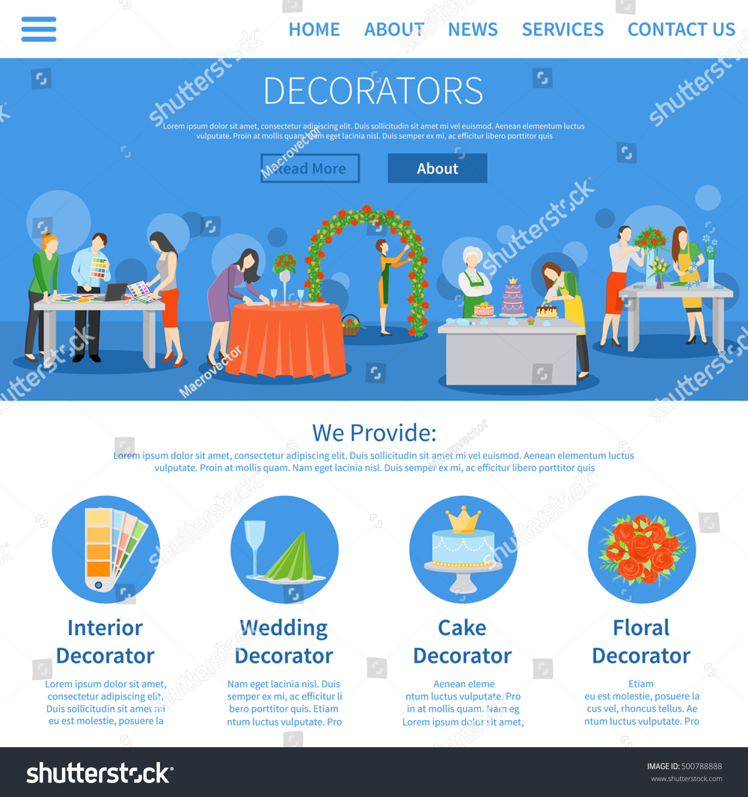 Interior design home page - Professional Decorators Services For Weddings Parties Interior Design One Page Online Information Flat Homepage Abstract Vector