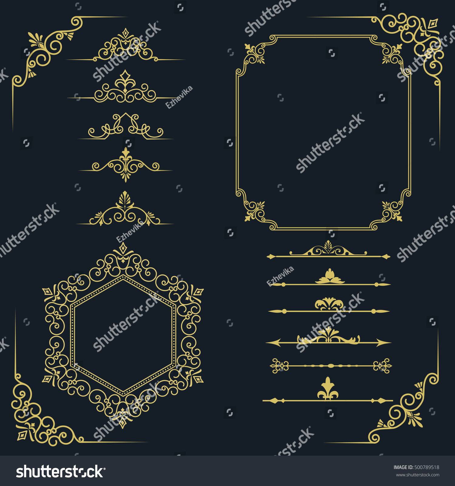 02d4738c814a Big Set Vintage Elements Frames Dividers Stock Vector (Royalty Free ...