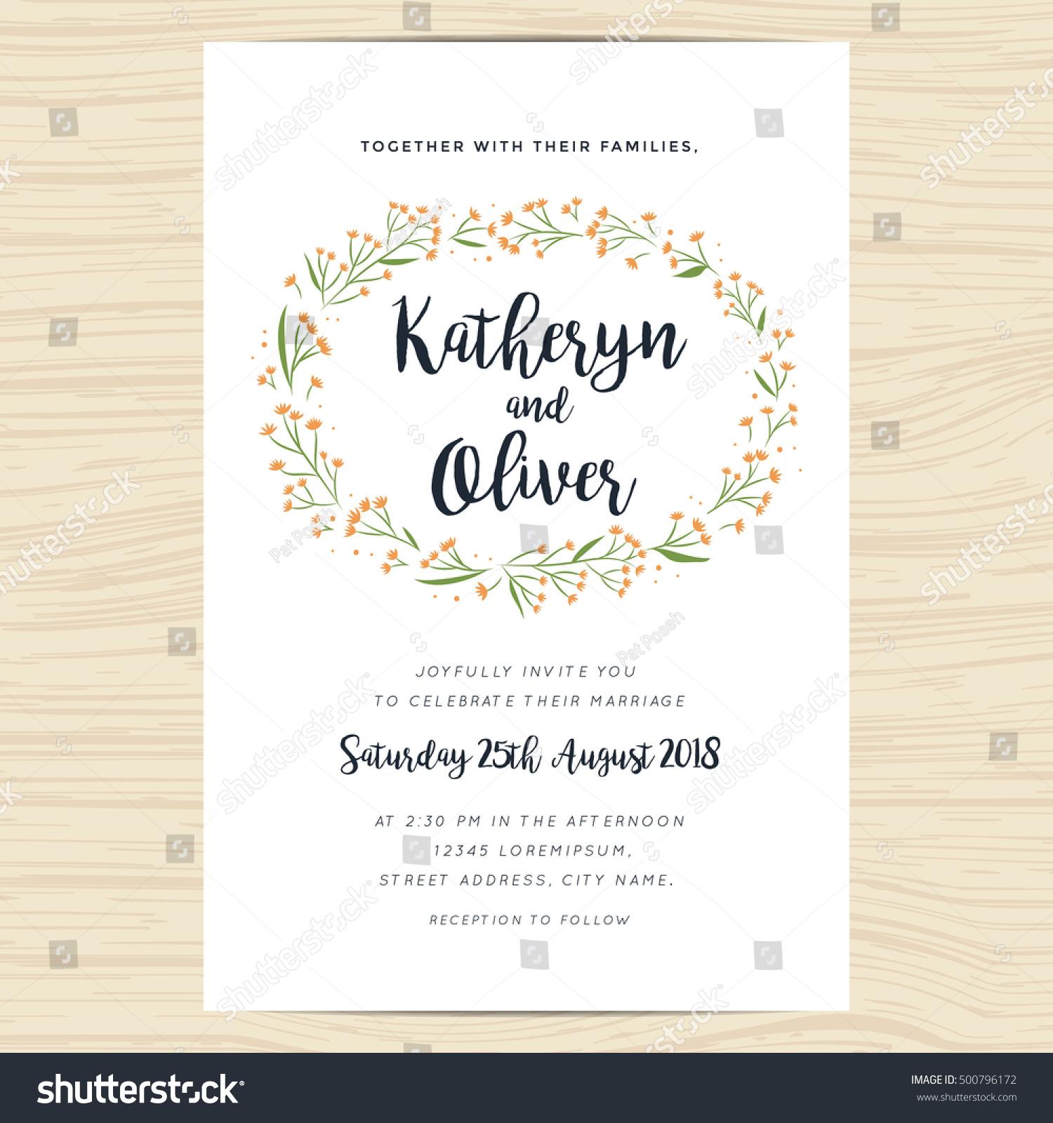Wedding Invitation Card Template Decorate Hand Stock Vector ...