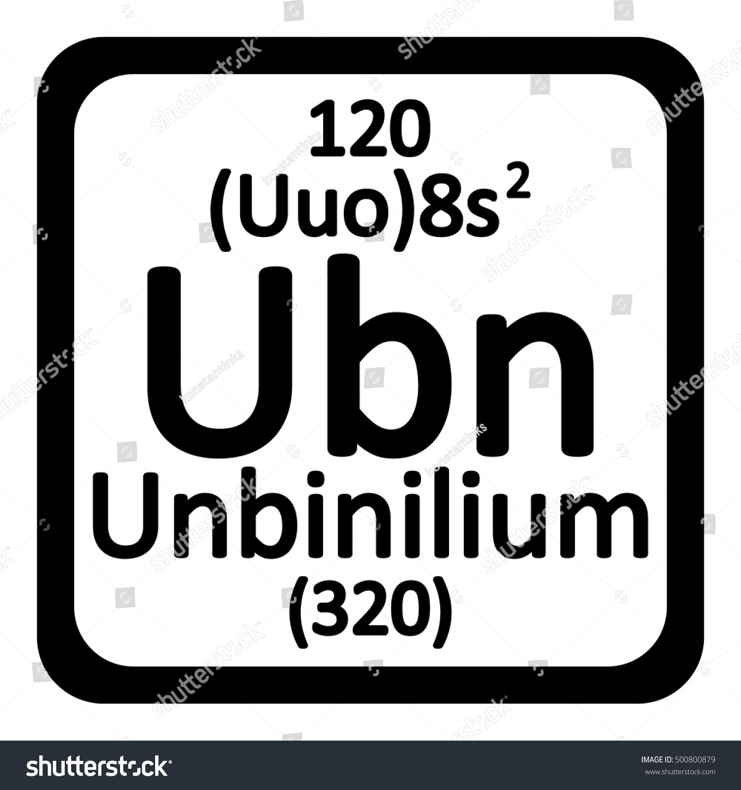 Periodic Table Element Unbinilium Icon On Stock Vector 500800879    Shutterstock