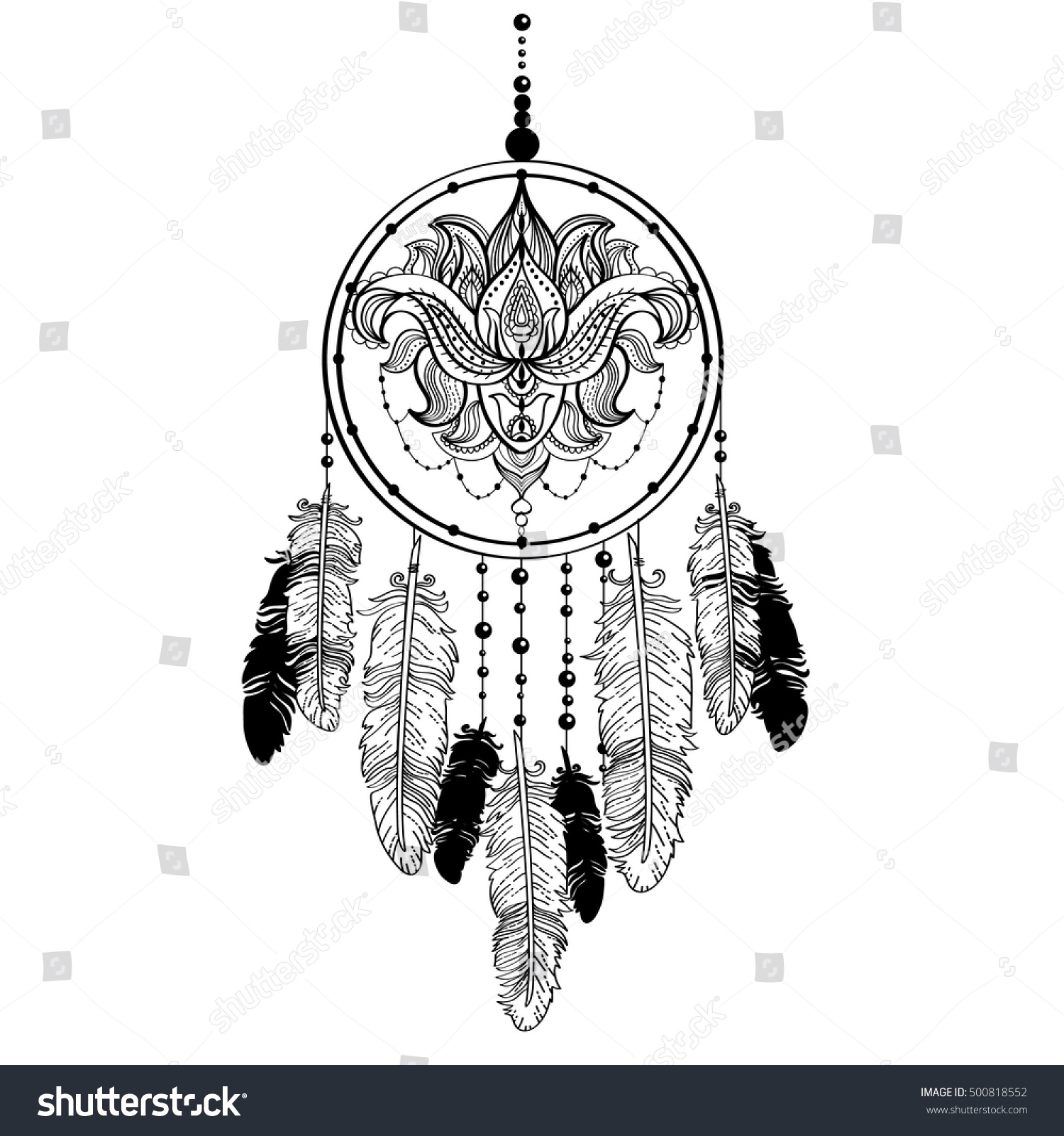 Dream Catcher Decorated Beards Feathers Lotus Stock Vector Royalty