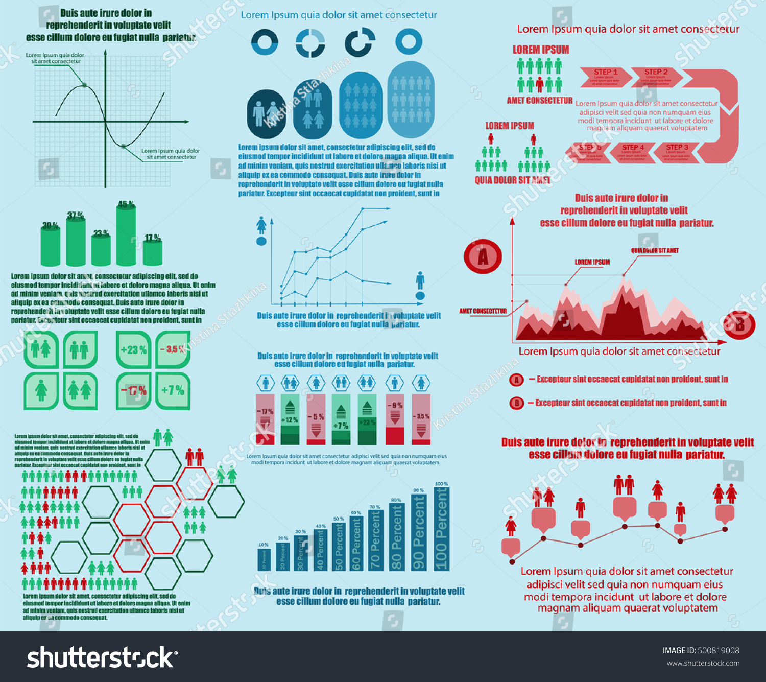 Infographics Set Graphs Charts Diagrams Examples Stock