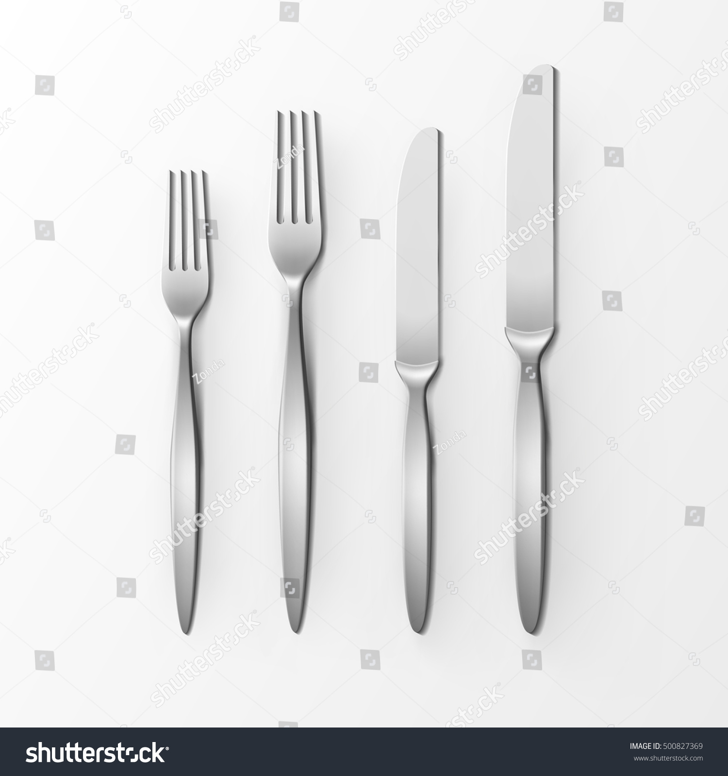 Table Setting Background vector cutlery set silver forks knifes stock vector 500827369