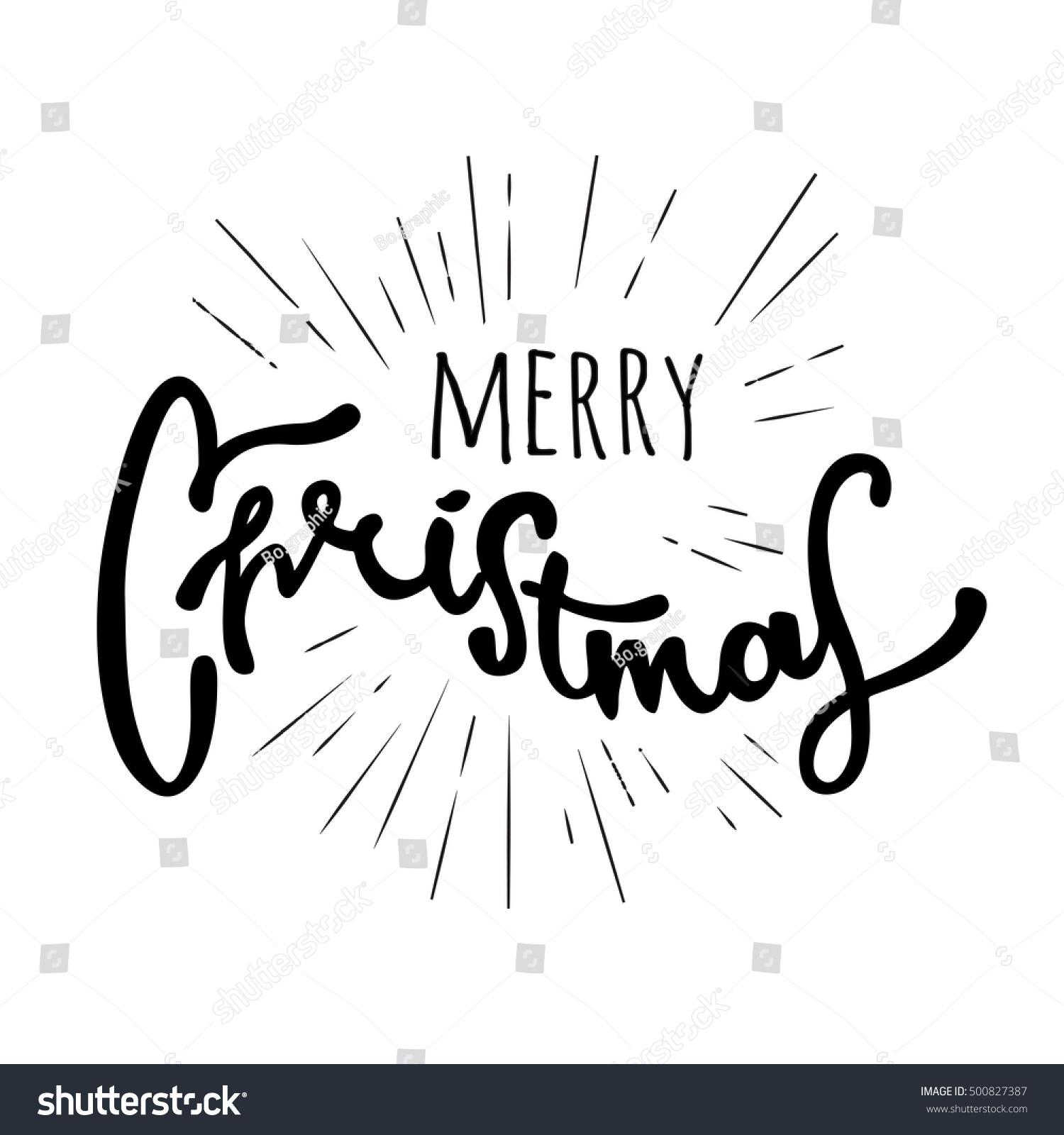 Merry christmas hand drawn retro design stock vector