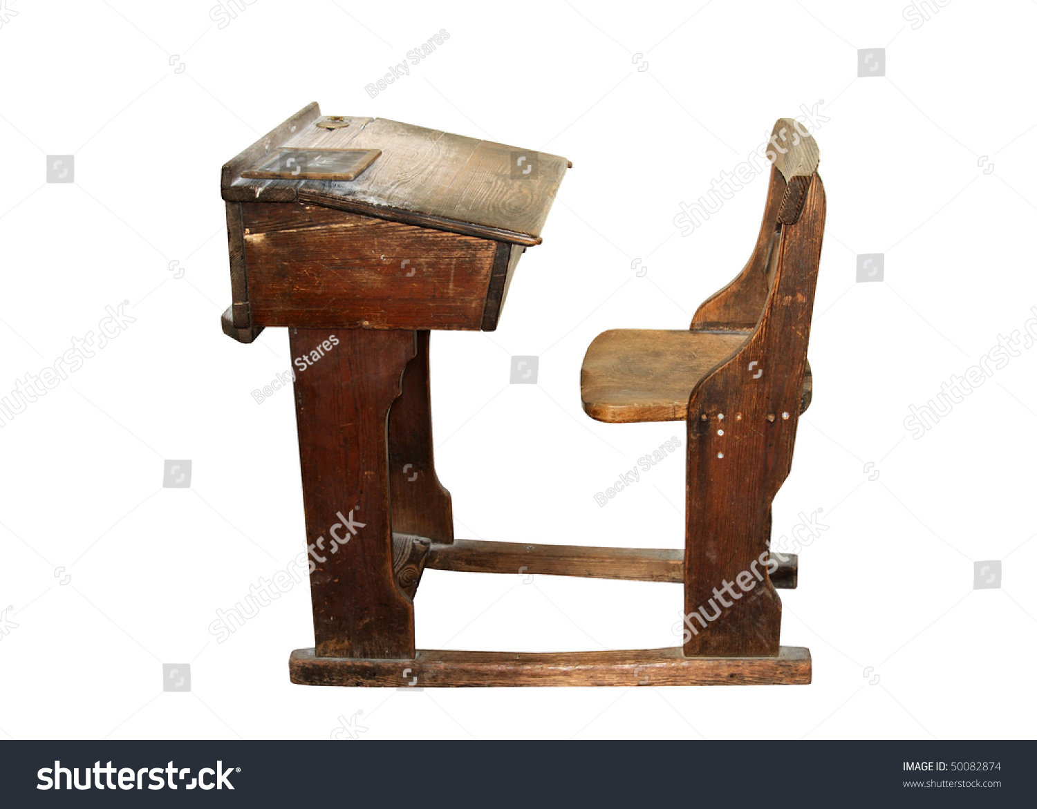 Vintage Wooden School Desk Chair Isolated Stock Photo
