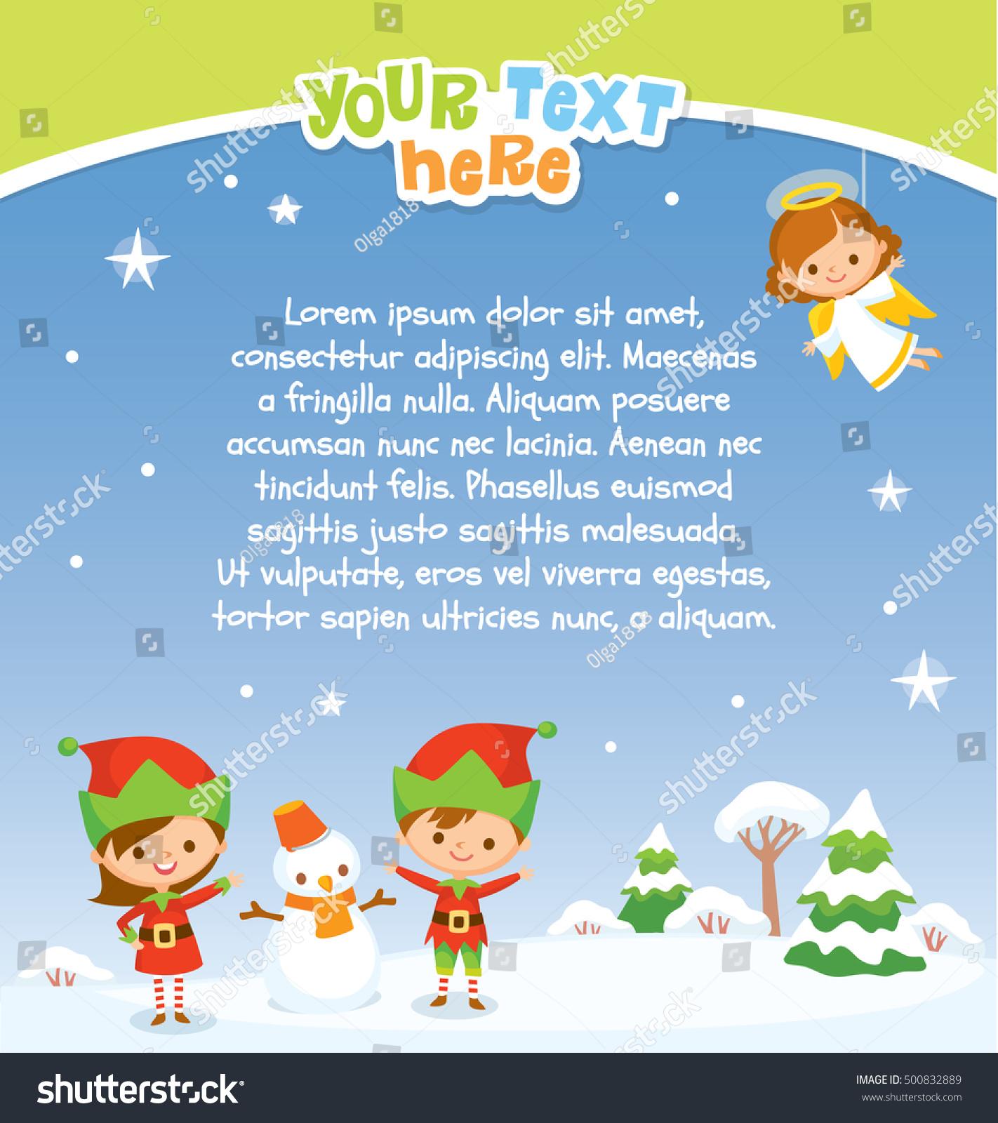 Christmas Background Kids Elves Angel Stock Vector (Royalty Free ...